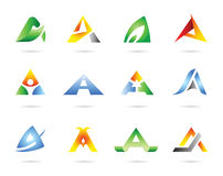 Icon set vector. Vector design of 12 colorful abstract icons Stock Photos