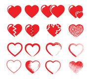Icon set vector illustration of red hearts. Icon set red hearts. Hand drawn cartoon doodle vector illustration Royalty Free Stock Images