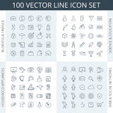 100 icon set. Vector thin line icon set. Business icons, education icons, financial icons, science icons, household appliances icons, kitchen icons, social Royalty Free Stock Images