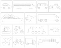 Icon set of vehicles. Large and detailed set of different vehicle icons Royalty Free Stock Images