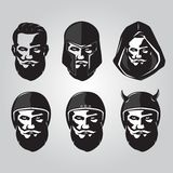 Bearded Viking Face with head clothes icon stock illustration