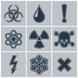 Icon set of warning symbols. Stock Photos