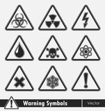 Icon set of warning symbols. Royalty Free Stock Photography