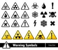 Icon set of warning symbols. Stock Photo