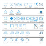 Textile care symbols Stock Photo