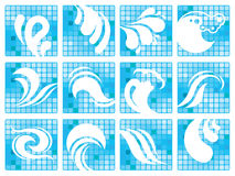 Icon set with water symbols Stock Photography