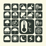 Icon set of weather. 22 Icon set of weather Royalty Free Stock Images
