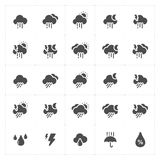 Icon set - weather and forecast filled icon Stock Photos
