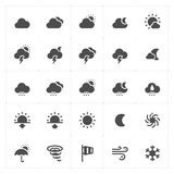 Icon set - weather and forecast filled icon Stock Image