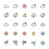 Icon set - weather and forecast full color royalty free stock photo