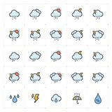 Icon set - weather and forecast full color stock photography