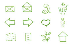 Icon set for web. Mail - Phone Shopping Cart - Arrows - Heart (Favorite) - Man- Data - Document -Leaf - Home - Green. Pencil Handmade on paper Royalty Free Stock Photography