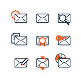 Icon set. Web development and SEO. E-mail marketing. Flat design Royalty Free Stock Photos