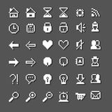 Icon set for web and mobile on grey background Royalty Free Stock Photos