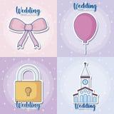 Wedding icon set Stock Photography