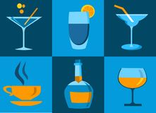 Icon set of whiskey bottle and glasses Stock Photography