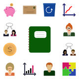 Icon set on a white background/ Vector notebook, notepad,/ Icons set revenue Royalty Free Stock Image