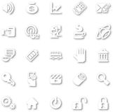 Icon Set White minimalist. A white minimalist style cutout icon set with drop shadows for all your web and app needs