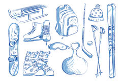 Icon set of winter objects: skates, ski, sleds, snowboard. Stock Image