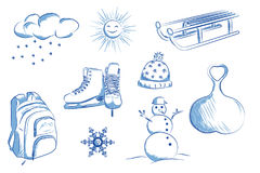 Icon set of winter objects: skates, sleds, snowman, snowflakes. Stock Photo