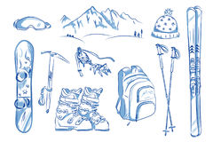Icon set of winter objects: ski, crampons, snowboard. Stock Photos