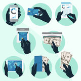 Icon Set With Hands Holding Credit Card, Smartphone, Money And O Royalty Free Stock Images