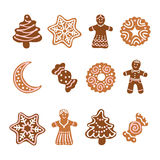 Icon set - Xmas gingerbread cookies Royalty Free Stock Image
