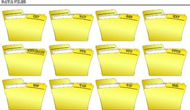 Icon set Folders for Data files - vector. An icon set with a yellow folder for every type of file, each folder is named with the extension of the filename Royalty Free Stock Photos