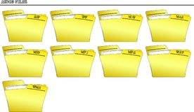 Icon set Folder for Audio files - vector. An icon set with yellow folders named with the extension of the filename of many different formats - vector Stock Photos
