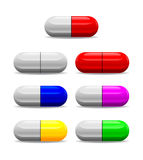 Icon of seven health pills Stock Photos