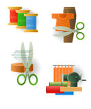 Icon of sewing accessories Stock Photography