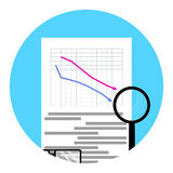 Icon shares fall. Vector crisis stock, down and failure diagram financial illustration Royalty Free Stock Image