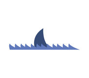 Icon shark fin illustrated. On a white background Royalty Free Stock Images