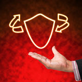Icon of shield with business Royalty Free Stock Image