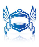Icon with shield ribbon and wings Royalty Free Stock Photography