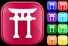 Icon of Shinto faith. On shiny square buttons Stock Photography