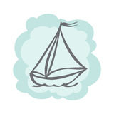 Icon ship. Vector icon ship with sails and flag Royalty Free Stock Photography