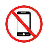 Icon with sign prohibited cellphone Royalty Free Stock Photo