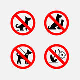 Icon signs prohibiting animals, plants, fully editable vector im Stock Images
