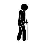 Icon silhouette elderly man with walking stick Stock Photography
