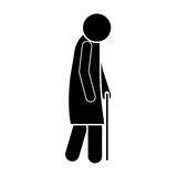 Icon silhouette elderly woman with walking stick. Vector illustration royalty free illustration