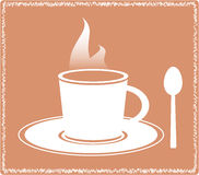 Icon with silhouette of hot coffee cup Royalty Free Stock Photos