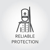 Icon with simple silhouette of soldier drawn in outline style. Reliable protection concept. Simple mono black line label. Logo for mobile apps, websites and Royalty Free Stock Photography