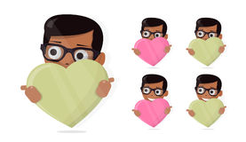 Icon for the site, the boy holds in his hands a heart. The fun animated style. The fun animated style. Icon for the site, the boy holds in his hands a heart Stock Photos