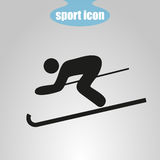 Icon of skier on a gray background. Vector illustration Royalty Free Stock Images