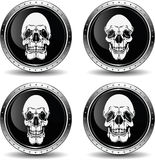 Icon with skull, vector illustration. Metal icon with skull, vector royalty free illustration