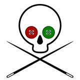 Icon skull voodoo. Skull with eye sockets sewn into place with colored buttons. Crossed needle. White background. Isolated. Vector Stock Image