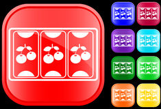 Icon of slot machine. On shiny square buttons Stock Photo