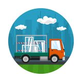 Icon of Small Truck Transports Windows. Transportation and Cargo Delivery Services, Logistics, Shipping and Freight of Goods, Vector Illustration Stock Photos