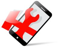 Icon: smartphone and tools for repair. Icon or logo: black smartphone and red repair tools Royalty Free Illustration